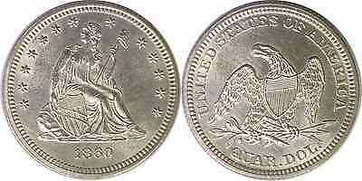 1860 25C Liberty Seated Quarter Uncirculated Details