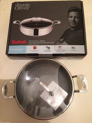 Sale! Tefal Jamie Oliver 25Cm Shallow Pan & Lid Stainless Steel Induction Bnib