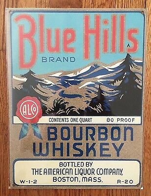 Blue Hills Brand Bourbon Whiskey Boston MA Label Poster Metal Advertising Sign