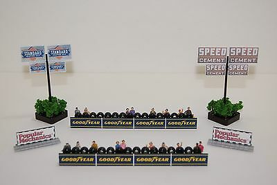 Ho Scale Slot Car Scenery / TIREWALL BARRIERS & SIGNS has 20 PEOPLE for AFX,TYCO