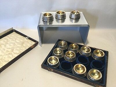 Boxed Set Of 12 Marked Coin Silver Gold Wash Salt Cellars All Matching Nice