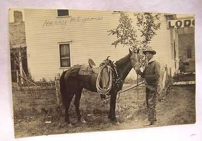 1910's Authentic Cowboy in Chaps w/ Horse RPPC
