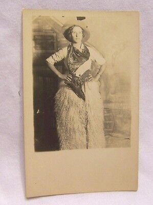 1900's Cowgirl in Wooly Chaps w/ Six Gun in Holster RPPC