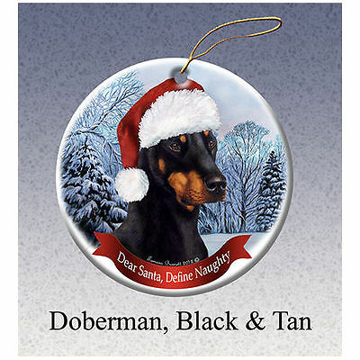 Doberman Pinscher Black Howliday Porcelain China Dog Christmas Ornament
