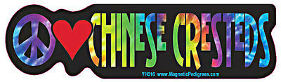 Peace Love Chinese Crested Tie Dye Hippie Dog Car Decal Sticker