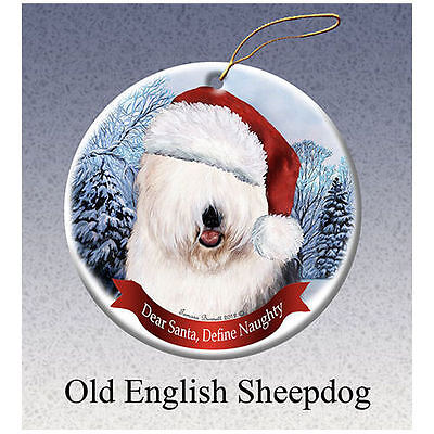 Old English Sheepdog Howliday Porcelain China Dog Christmas Ornament