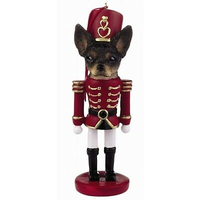 Chihuahua Black Dog Toy Soldier Nutcracker Christmas Ornament