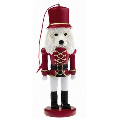 Poodle White Dog Toy Soldier Nutcracker Christmas Ornament