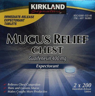 Kirkland Mucus Relief Chest Expectorant Guaifenesin 400mg, 200x4pk = 800 Tablets