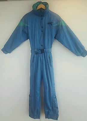 Vintage / Retro Womens All In One Ski Suit S Blue