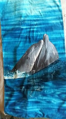 Large Used Beach Bath Towel 100% Cotton Dry Dolphins Swimming/ Gym Towels