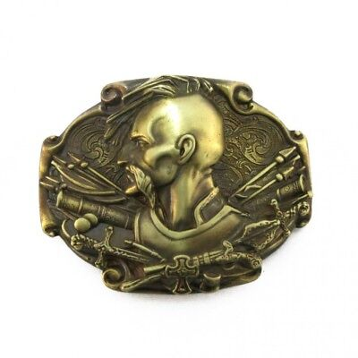 "Solid Brass Belt Buckle, Born to be Free, Cossack Mamaj, Ukrainian, 3.5"" X 2.5"""