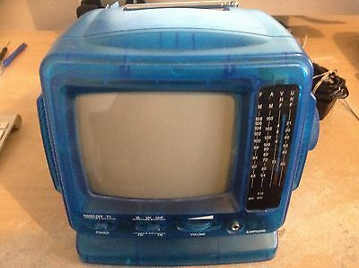 Vintage portable black and white television.
