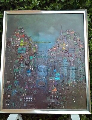Bill Tolley Original Large Art Oil Painting City Landscape Industrial Lowry Rare