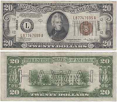 1934 A $20 Hawaii Federal Reserve Note Very Fine FR 2305
