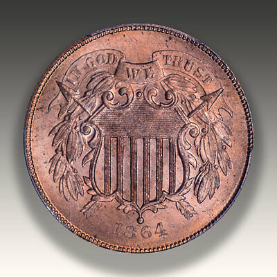 1864 Large Motto Two Cent PCGS MS 66 Red