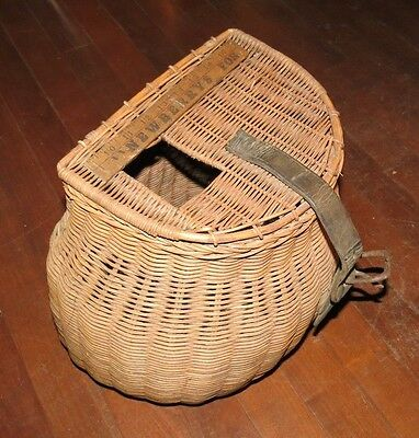 "Vintage Fishing Creel, Trout Basket 14""w, 16""h, 10""deep Old, But Clean"