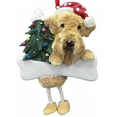 Airedale Terrier Dangling Wobbly Leg Dog Bone Christmas Ornament