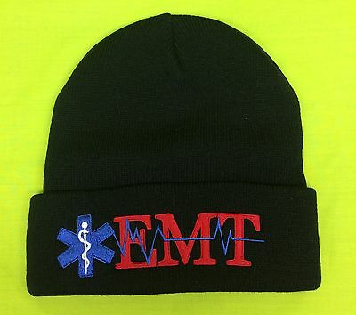 NEW Embroidered EMT Medical Star Of Life Navy Knit Stocking Cap Hat