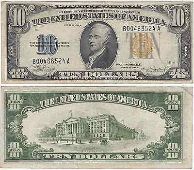 1934 A $10 North Africa Silver Certificate Very Fine FR 2309