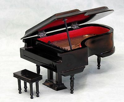 Miniature Black Lacquer Wooden Grand Piano and Matching Stool