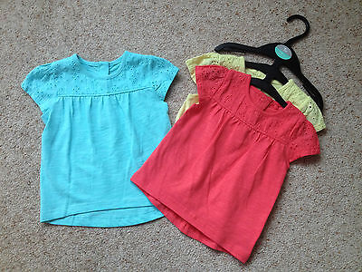 3 Baby Girls Short Sleeved Tops From Tu  Age 3-6 Months  New