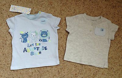 2 Baby Boys Short Sleeved Tops From F&f  Age 0-3 Months  Bnwt