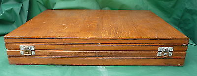 Vintage Wood Cutlery Box Canteen Storage Dining Room