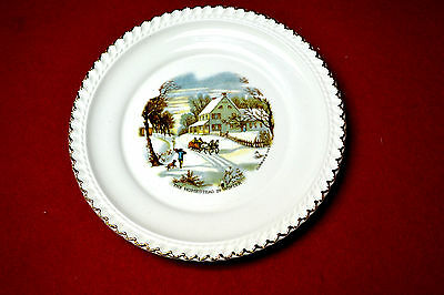 """HARKERWARE 6 3/8"""" CURRIER & IVES The Homestead in Winter GOLD TRIMMED PLATE"""