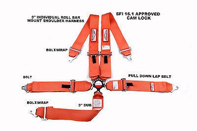 "Sfi 16.1 Racing Harness 5 Point Roll Bar Mount 3"" Cam Lock Seat Belt Orange"