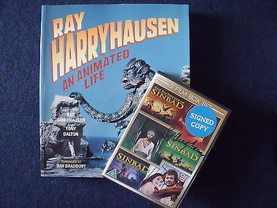 Signed Ray Harryhausen Sinbad DVDs and Animated Life book