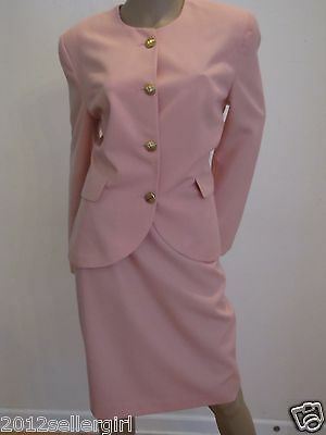 Daniel Niveau Vintage Designer Peach Pink Career 2 Pc Jacket Skirt Suit 10