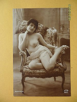 Original 1910's-1920's Jean Agelou Postcard Nude Risque Lady in Chair  #30