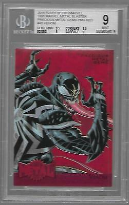 Bgs 9 Mint 2015 Fleer Retro Marvel #42 Venom Red Pmg #/100 Precious Metal Gems