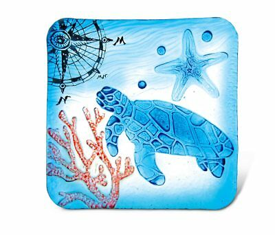 Glass Décor - 8 Inch Blue Square Plate - Sea Turtle