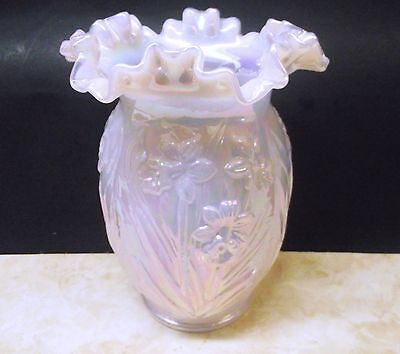 Fenton Glass Vase Pink  Iridescent Daffodil Embossed Flower Ruffled Rim Usa