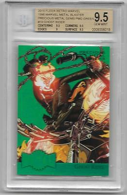 Bgs 9.5 Gem 2015 Fleer Marvel #19 Ghost Rider Pmg Green #/10 Precious Metal Gems