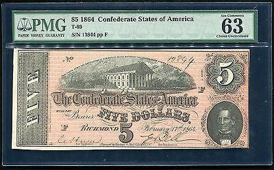 T-69 1864 $5 Five Dollars Csa Confederate States Of America Pmg Unc-63Epq