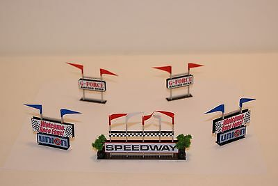 Ho Scale Slot Car Scenery / RACEWAY INFIELD 5 piece SIGNAGE SET  for AFX,TYCO