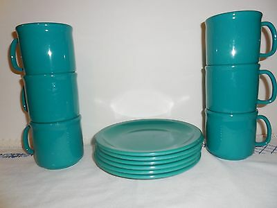 Texas Ware Set of 6 Lunch Dessert Plates and 6 Mugs - Teal green