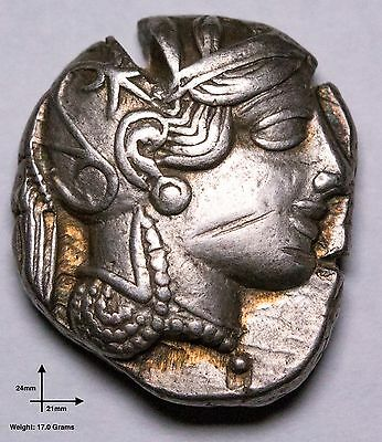 Ancient Greek Silver Owl Tetradrachm Coin from Athens - 454 to 404 BC