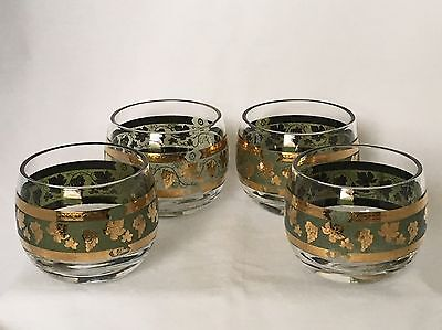 "CERA ""Golden Grapes"" Roly Poly Glasses Green w/Gold Trim Set Of 4 Modern."
