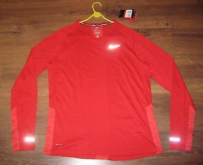 BNWT Men's Nike DRI-FIT Long Sleeve Running Top - Red - Large