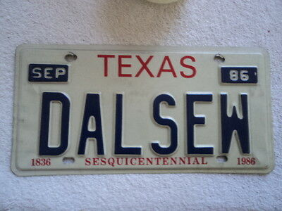 "1986 Texas Vanity License Plate  ""  DALSEW ""    Dallas Texas"