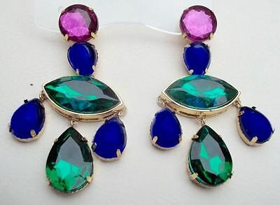 SCAASI Vintage Earrings Haute Couture Purple Green Blue Cabochon Shoulder Duster
