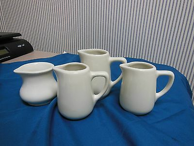 Vintage Set of 4 White Ironstone Creamers:  Hall & Don Ovenware Handleless