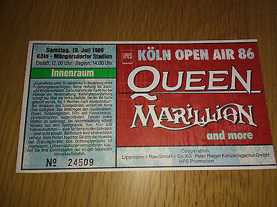 Queen Marillion Gary Moore Signed Concert Tour Ticket Stub, Cologne Germany 1986