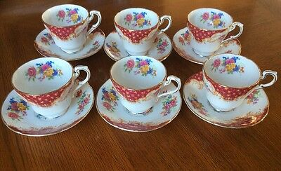 "6 x Paragon Fine Bone China ""Red Rockingham"" Coffee Cups & Saucers"
