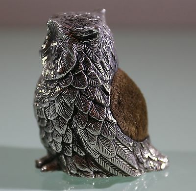 Antique Solid Silver German Hanau Silver Owl Pin Cushion, C.1890