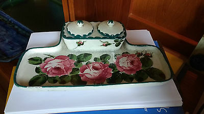 Rare Early Wemyss Pottery Ink Stand With 2 Lids 1895-1920 Made For T Goode & Co